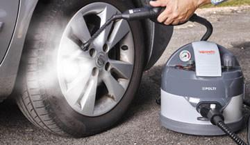 Cleaning car tyre rims with Polti Vaporetto eco pro 3.0 steam cleaner